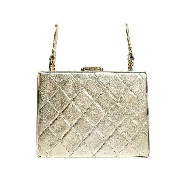 Chanel Platinum Quilted Leather Box Bag For