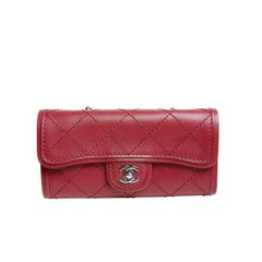 Chanel Red Leather Cross Body Wallet Bag