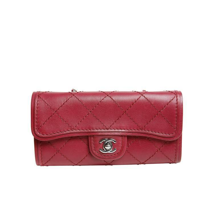 Chanel Red Leather Cross Body Wallet Bag For Sale