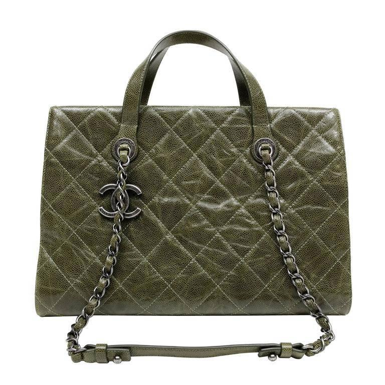 Chanel Olive Green Caviar Leather Crave Tote Bag
