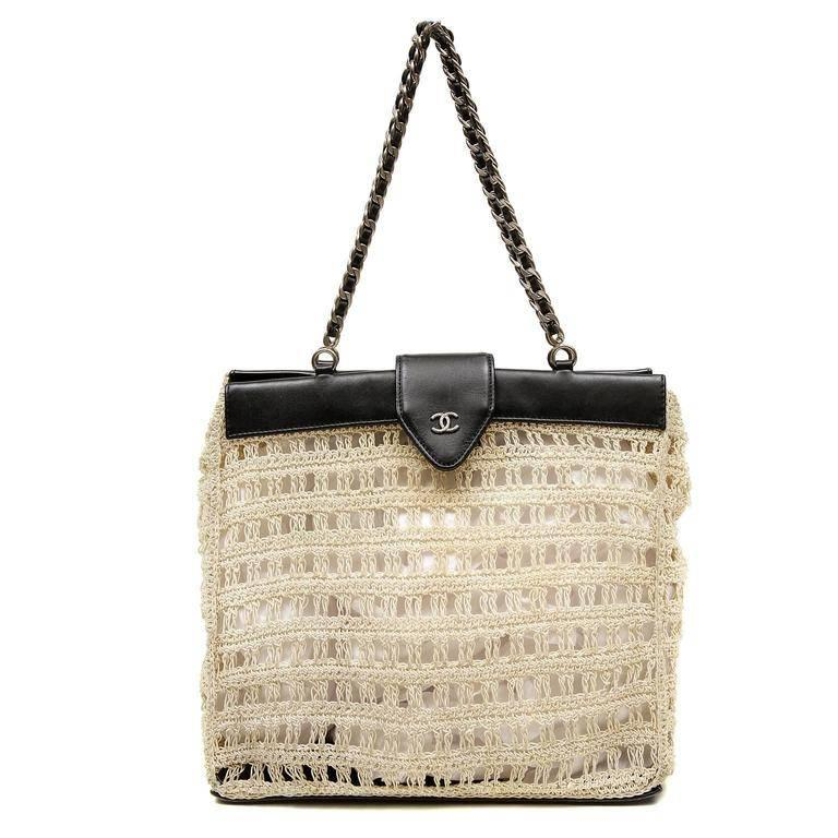 Chanel Beige Crocheted and Black Leather Tote Bag