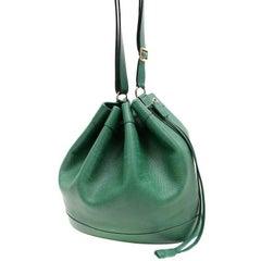 Hermes Dark Green Leather Drawstring Market Bag