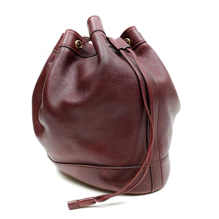 Brown Hermes Bordeaux Leather Vintage Market Bucket Bag For Sale