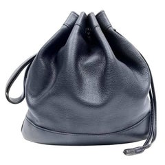 Hermes Indigo Leather Drawstring Market Bucket Bag