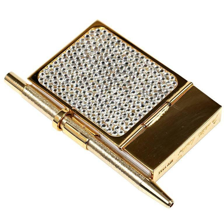 Judith Leiber Crystal Mini Note Pad with Pen For Sale