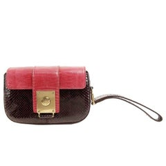 Tods Purple Python and Red Lizard Skin Wristlet