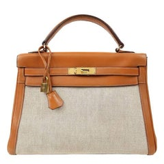 Hermes 32 cm Toile and Box Calf Kelly