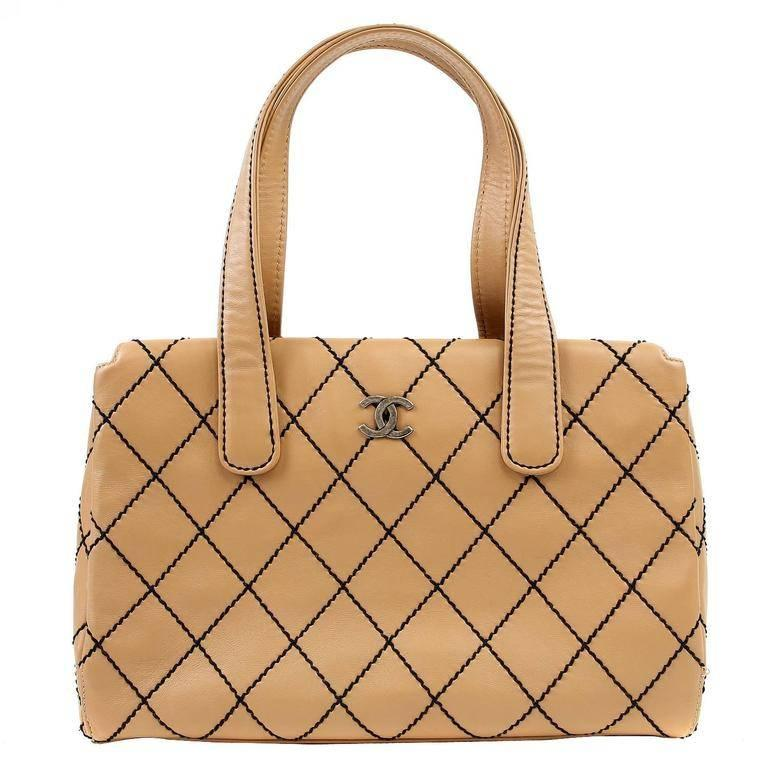 Chanel Beige Leather Tote with Black Top Stitching