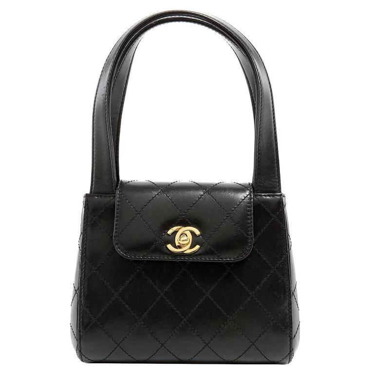 Chanel Black Topstitched Leather Mini Satchel Handbag For Sale