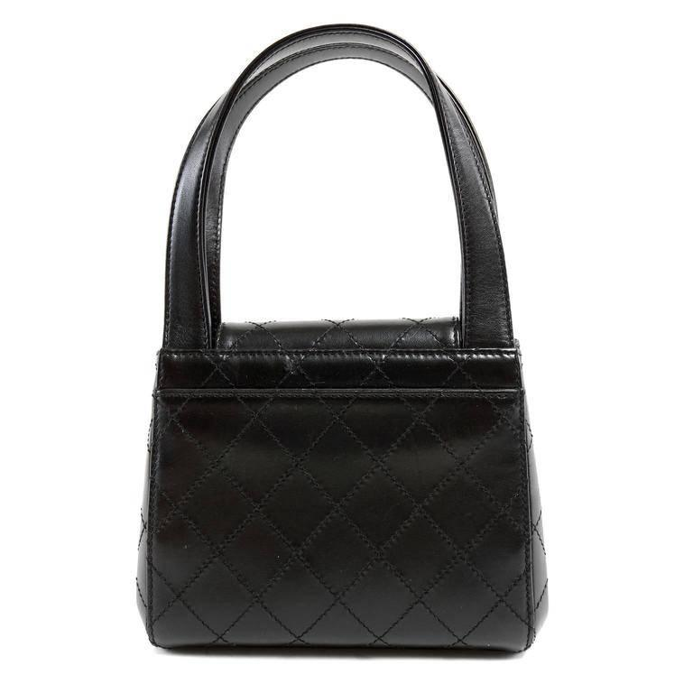 Chanel Black Topstitched Leather Mini Satchel Handbag In Excellent Condition For Sale In Palm Beach, FL