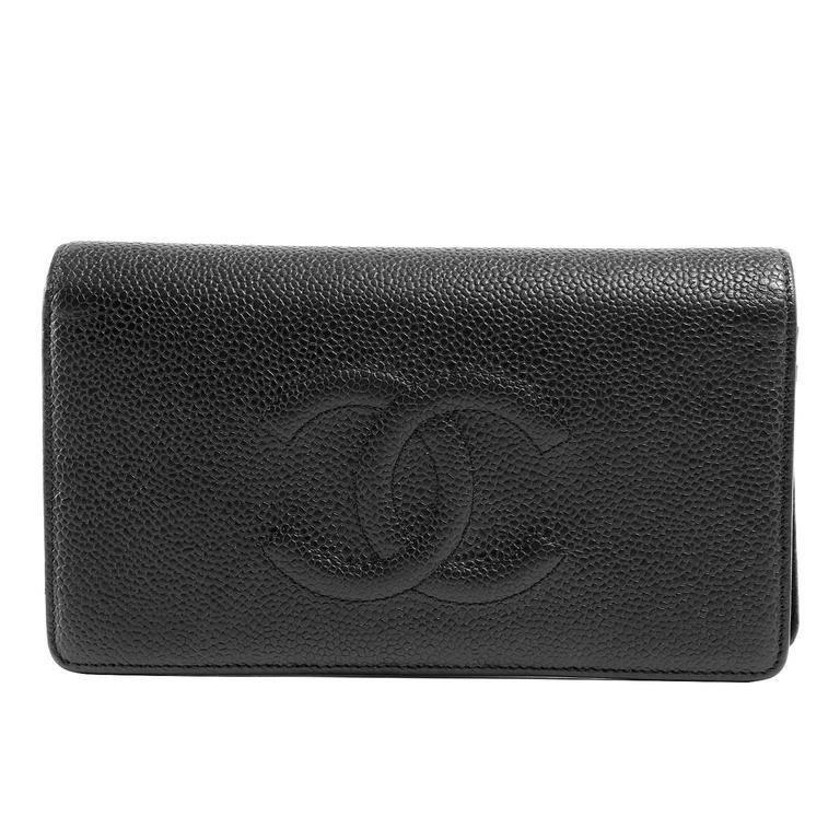c9dd7cc9b7ea Chanel Black Caviar Large Bifold Wallet at 1stdibs
