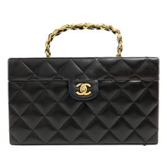 Chanel Vintage Black Leather Top Handle Box Case