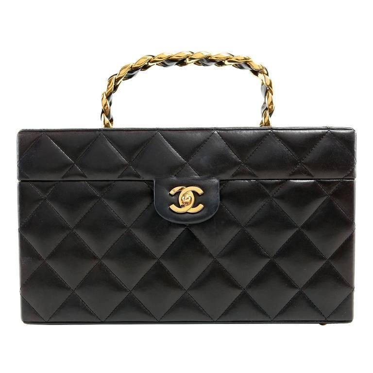 Chanel Vintage Black Leather Top Handle Box Case