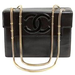 Chanel Vintage Black Leather Snake Chain Bag
