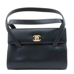 Chanel Navy Satin Evening Bag