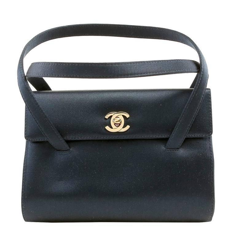 Chanel Navy Satin Evening Bag
