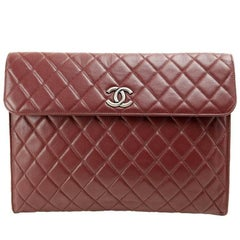 Chanel Bordeaux Leather XL Clutch