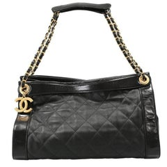 Chanel Black Leather Overnight Travel Bag- Unisex