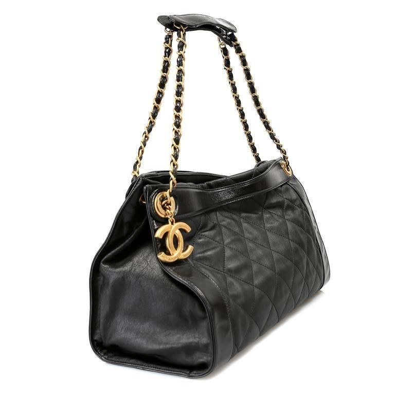 Chanel Black Leather Overnight Travel Bag- Unisex In New Condition For Sale In Palm Beach, FL