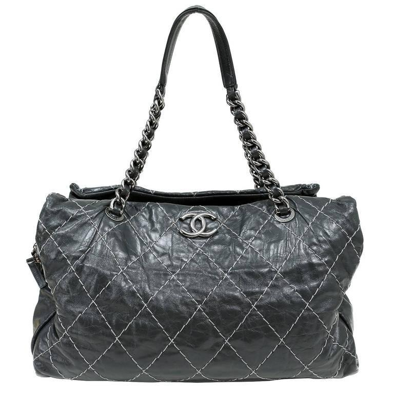 Chanel Charcoal Grey Distressed Leather XXL Tote