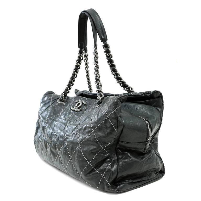 Black Chanel Charcoal Grey Distressed Leather XXL Tote For Sale