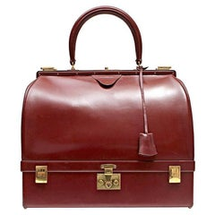 Hermes Vintage Rouge Box Calf Jewelry Travel Case