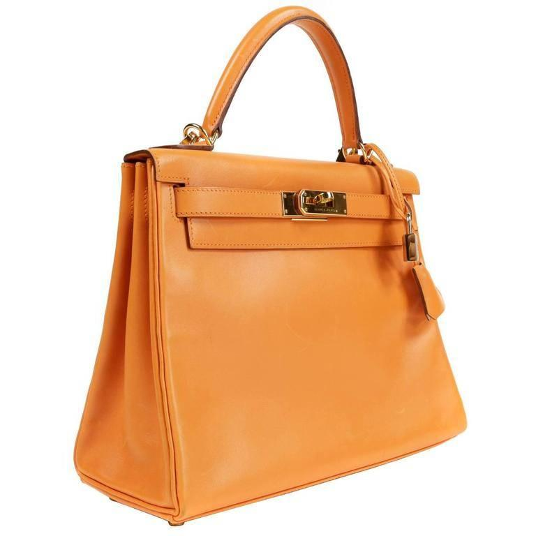 Hermes Orange Box Calf Kelly Bag- 28 cm with GHW