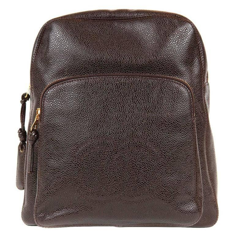 Chanel Espresso Caviar Leather Backpack