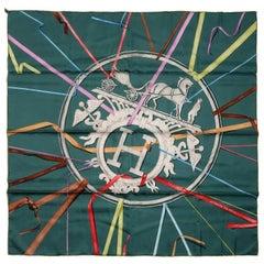 Hermes Green Attrape tes Reves 90 cm Silk Scarf