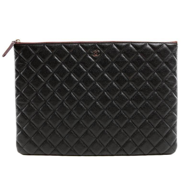 Chanel Black Caviar Leather Portfolio Case
