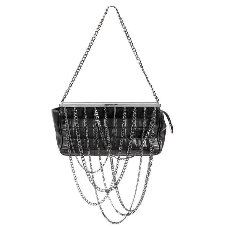Chanel Black Lambskin Dripping Chains Evening Bag