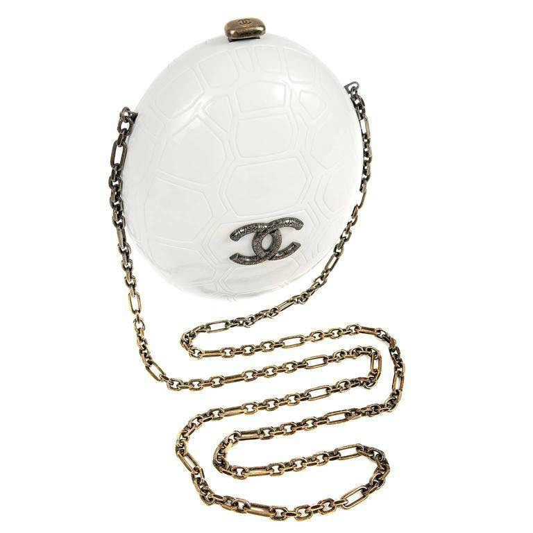 Chanel Cruise Collection Ivory Resin Turtle Shell Print Bag with Strap, 2016