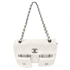 Chanel White Lambskin Two Pocket Day Bag