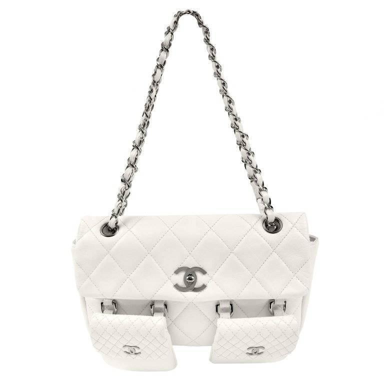 Chanel White Lambskin Two Pocket Day Bag