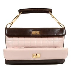 Chanel Pink and Brown Lambskin Clutch with Handle