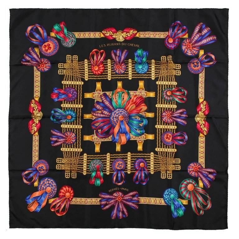 Hermes Black Silk Les Rubans du Cheval 90 cm Scarf