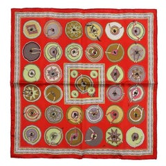 Hermes Red Silk Belles du Mexique Pochette Pocket Square