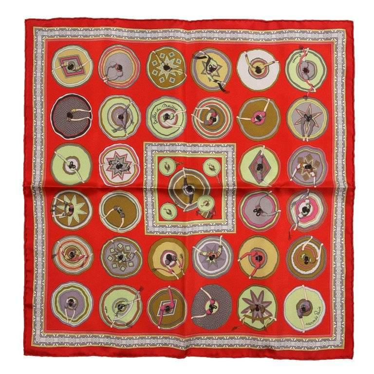 Hermes Red Silk Belles du Mexique Pochette Pocket Square
