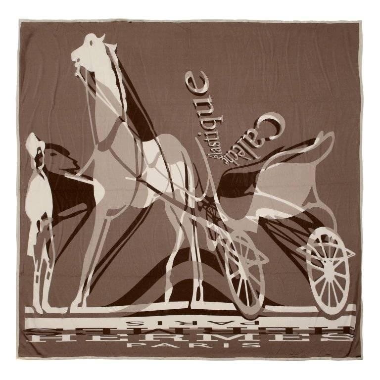 Hermes Caleche Elastique 90 cm Silk Scarf- Brown