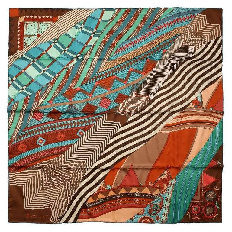 Hermes Brown Turquoise Coupons Indiens 90 cm Scarf
