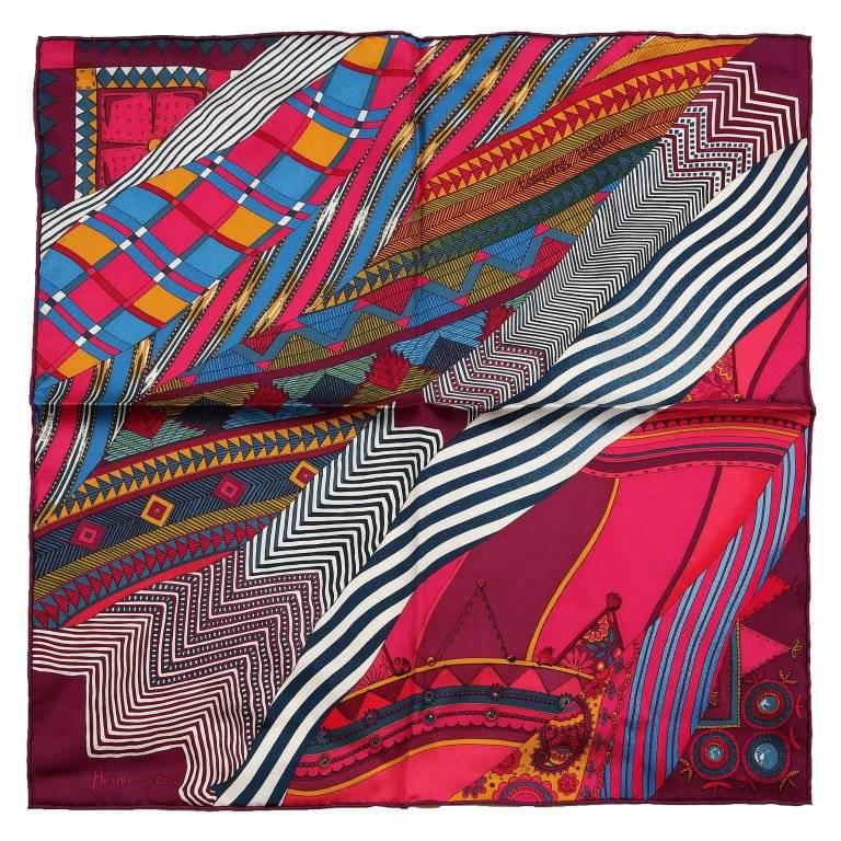 Hermes Coupons Indiens Pocket Square Silk Scarf- Fuchsia Burgundy