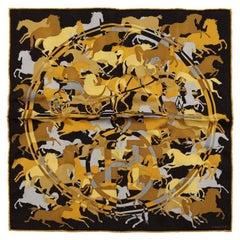 Hermes Ex Libris en Camouflage Pochette Silk Scarf