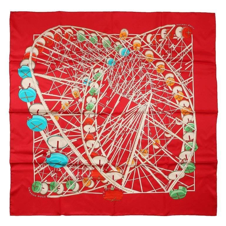 Hermes Grande Roue 90 cm Silk Scarf- Red