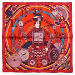 Hermes Monsieur Montres Silk Pochette Scarf- Red