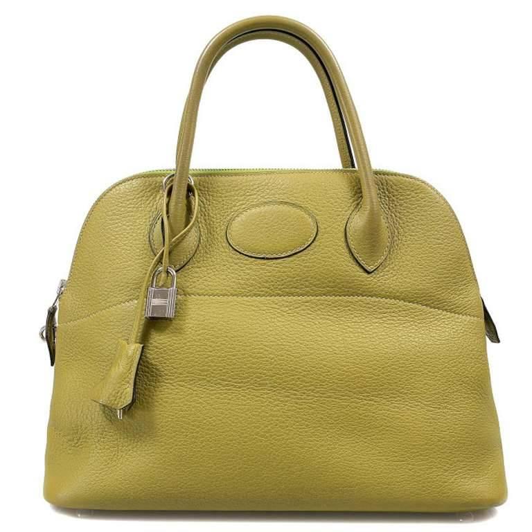Brown Hermes Vert Anis 31cm Bolide For Sale