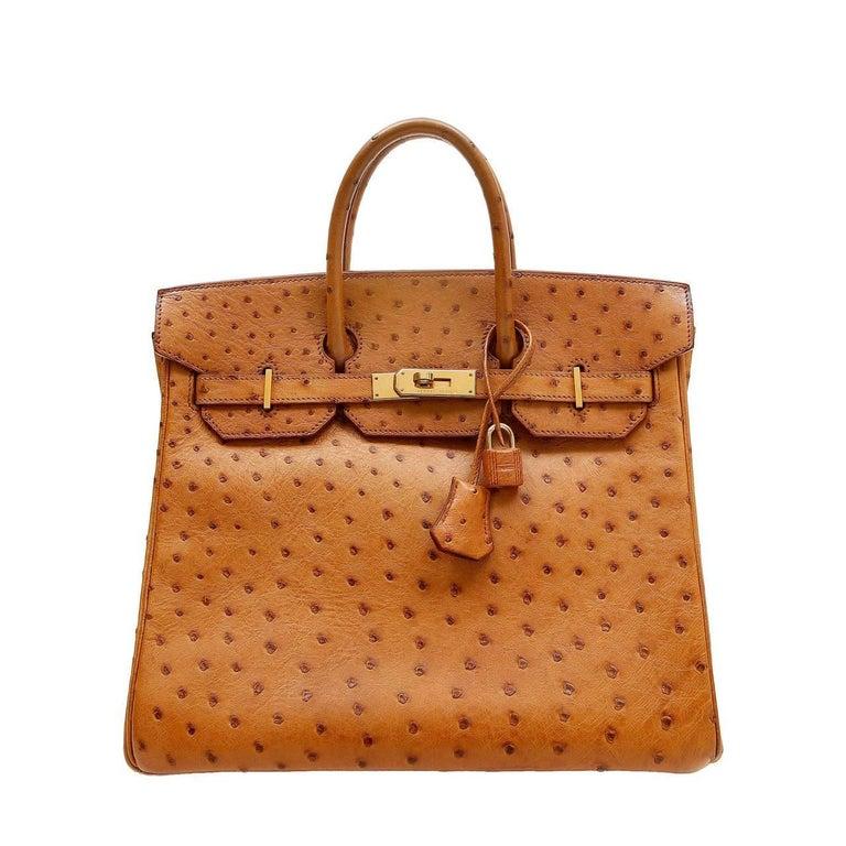 Hermes Miel Ostrich HAC Birkin Bag- 32 cm