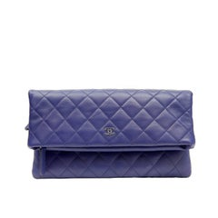 Chanel Purple Quilted Leather Clutch