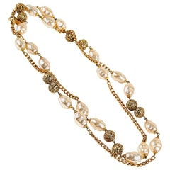 Chanel Baroque Pearl and Gold Chain Long Necklace