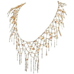 Chanel Gold Net Dripping Chain Necklace