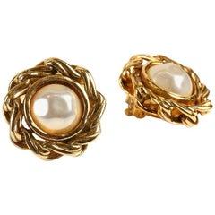 Chanel Pearl Clip On Vintage Earrings